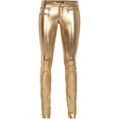 SLY 010 Metallic Leather Skinny Gold Golden skinny leather pants ($445) ❤ liked on Polyvore featuring pants, bottoms, jeans, calças, pantalones, metallic gold pants, bike pants, slim pants, skinny pants and straight pants