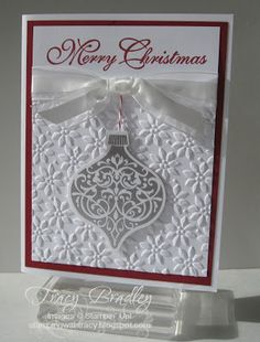 Stampin' Up!, Ornament Keepsakes, More Merry Messages, Christmas by longyly Scrapbook Christmas Cards, Stamped Christmas Cards, Homemade Christmas Cards, Christmas Cards To Make, Christmas Greeting Cards, Christmas Greetings, Greeting Cards Handmade, Handmade Christmas, Homemade Cards
