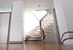 Fluid Organic: Staircase inspired by the garden. 'A complex, delicate and highly articulated mathematical sequence, digitally fabricated Stair Plan, Interior Staircase, Parametric Architecture, Metal Stairs, Beautiful Homes, House Beautiful, Organic Modern, Stairways, New Art