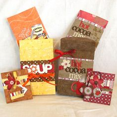 Wrap ideas for get well gifts: soup, coco, tissues love the look-no templates