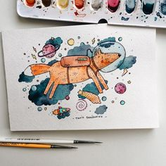 4,811 отметок «Нравится», 29 комментариев — ◽️Tania Samoshkina◽️ (@samoshkina_art) в Instagram: «Space fox 🚀🦊 *need more bright colors today☁️🌨☁️»