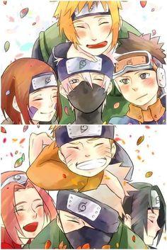 Time Minato e Time Kakashi Naruto Kakashi, Anime Naruto, Naruto Comic, Naruto Cute, Naruto Shippuden Sasuke, Team Minato, Naruto Team 7, Otaku Anime, Wallpaper Naruto Shippuden