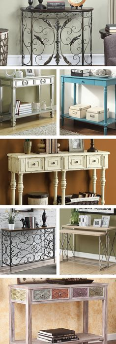 Options for entryway table AND sofa table AND dining room side table. ugh I love posts like these 😍 My Living Room, Living Room Decor, Dining Room, Interior Exterior, Interior Design, My New Room, Apartment Living, My Dream Home, Diy Furniture