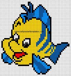 Minecraft Pixel Art Templates: Flounder (The Little Mermaid)