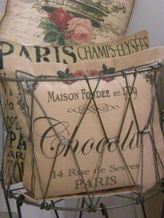 Shabby chic pillows in a bicycle basket. I used cream pillows with ruffles and sequins. It is beautiful and my favorite thing in my house. French Country Bedrooms, French Country Cottage, French Country Style, Cottage Style, Country Living, French Decor, French Country Decorating, French Pillows, I Love Paris