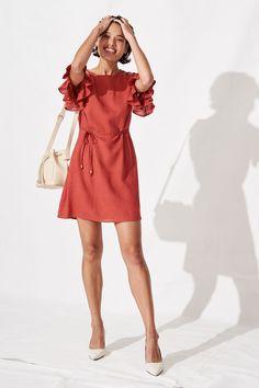Slade Shift Dress with Frill Sleeve in Rust Linen Blend Orange - St Frock