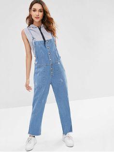 Frayed Pocket Denim Overalls - Denim Blue - Denim Blue L - zaful Blue Ripped Jeans, Blue Denim, Mamma Mia, Embroidered Denim Dress, Estilo Boho, Denim Overalls, Rompers Women, Retro Dress, Suspenders