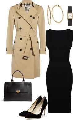 Basically what I wish I could wear every day. Perfect trench, sleek black sheath dress, low heels... Except I'd probably switch to sparkly studs and bracelets instead of a watch...