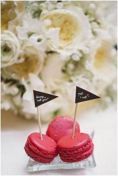raspberry red wedding macarons