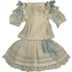 Beautiful Antique Original French Bebe Dress for JUMEAU other French from mybebes on Ruby Lane