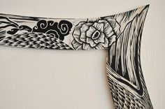 Fénix - Woodcut project for Walldesign by Mario Sayavedra, via Behance