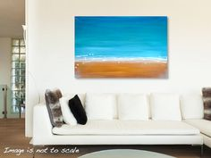 Large Original Abstract Painting - Modern Contemporary Wall Art - Gold Sand, White Waves, Blue Skies - 36 x 24: Beach Life - FREE SHIPPING
