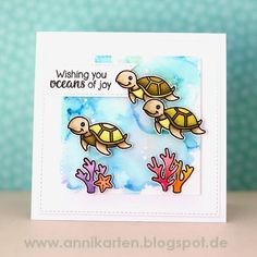 Sunny Studio Stamps Oceans of Joy Sea Turtles Card