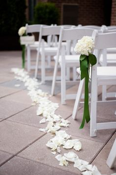 aisle markers(front and back rows) - also reference for rose petal placement (mix of red and white) With champagne tulle sash instead of bow
