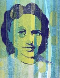"""martha"", monoprint using stencils on watercolor paper"