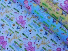 Nursery print kids drawings elephants ducks by TheFabricShopUK