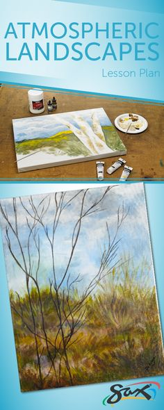 Atmospheric Landscapes: Complete directions, material list (each kit contains supplies for at least 6 projects) and objectives of this lesson plan that correlates to national standards. Developed exclusively for Sax. High School Art, Middle School Art, Painting Lessons, Art Lessons, School Painting, Art Curriculum, Art Sites, Art Lesson Plans, Art Classroom