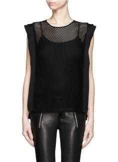 SANDRO - 'Exhalté' sheer side mesh top   Black Vests/Tanks Tops   Womenswear   Lane Crawford