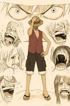 Luffy and his crying nakama. Zolo / Zoro, Nami, Usopp, Sanji, Chopper, Robin