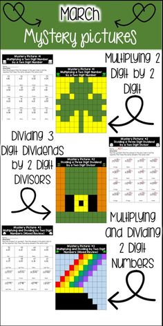 This product has a St. Patrick's Day theme. The pictures include:  ♦️ A Shamrock - Reviews multiplying a two digit number by another two digit number ♦️ A Leprechaun's Hat - Reviews dividing a three digit dividend by a two digit divisor to get a two digit quotient ♦️ A Pot of Gold - Mixed review of multiplying and dividing by two digit numbers  This product would be great to use:  ♦️ On St. Patrick's Day ♦️ For math centers ♦️ For a review of the c