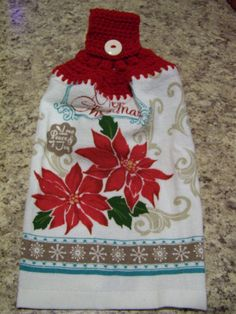 Christmas Hanging Dish Towel Hanging by CherisCrochetCottage