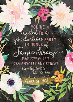 graduation invitation,graduation party, graduation announcement,graduation party invite,graduation party invitation, gold,boho,vintage,floral