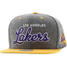 Mitchell And Ness Los Angeles Lakers Melton Script Snapback Cap (grey    yellow) NZG20. Nba KnicksMlb YankeesNew Era ... 00a3cb8478e5