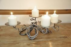 Hand Forged Quad Candle Holder-Alola Pillar Candle Holders, Candle Sconces, Pillar Candles, Dinning Table, A Table, Dining Area, Blacksmith Forge, Table Centers, Door Furniture
