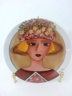 Vintage Hand Painted Portrait Porcelain Plate  Italy  by RosiesHut, $60.00