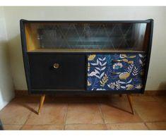 Enfilade vintage rénovée L100 - bois (Matériau) - noir - vintage - A94DJKWK Buffet, Cabinet, Storage, Furniture, Home Decor, Floral Theme, Glass Table, Window Glass, Drawer