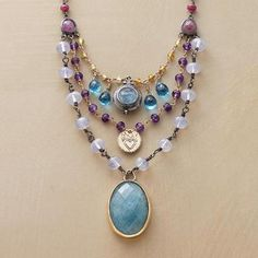 Aquamarine, blue topaz, lilac quartz, turquoise, lavender amethyst and more—like treasures from the sea.