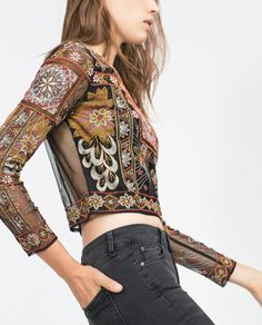 ZARA - WOMAN - EMBROIDERED TOP - this is really quite lovely! Good for evening events and on stage. The cropped length keeps it cool and contemporary