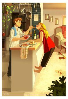 illustration couple yaoyao ma van as Cartoon Kunst, Cartoon Art, Cute Couple Art, Cute Couples, Couple Illustration, Illustration Art, Girl Illustrations, Art Mignon, Cute Love Cartoons