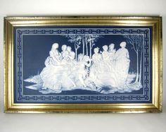 Villeroy & Boch Mettlach Bildplatte in Holzrahmen Dekor PARNASS Raphael Sanzio