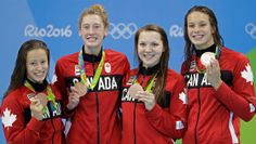 Team Canada wins bronze in the women's metre freestyle relay, bringing Canada's medal count to six. Olympic Medals, Olympic Sports, Olympic Team, Olympic Games, Rio Olympics 2016, Summer Olympics, Live Cricket Streaming, Olympic Swimmers, Rio De Janeiro
