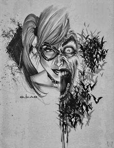Batman tattoos. (Harlequin & Joker)