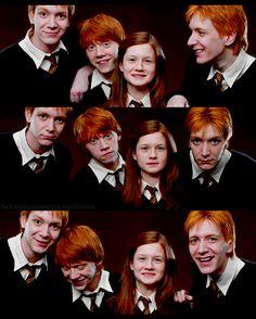 La familia Weasley :'3 .... Hace un tiempo cuando me enteré que Fred y George Weasley no eran pelirrojos en la vida real (James y Oliver Phelps) me decepcione