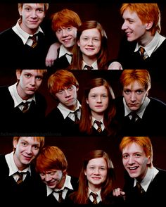 Fred, Ron, Ginny, George.