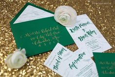 Photo by Kimberly Potterf | Wedding invitation by On Paper features marble paper and emerald green envelopes, and gold hand calligraphy. On Paper | onpaper.com  (614) 424.6617