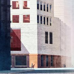 Corner of my concrete box (a hotel, actually) on Old Street roundabout after Cartier-Bresson and Hopper #architectureschool #finalproject #drawing #hopper #americascoolmodernism #oxford #blueshadows #eveningsun #cartierbresson #modern #architecture #london #concrete #bigwindows #reflections #drawing #perspective #architecturevisualization #photoshop #light #contrast #thanksforhelpingwiththefacade:)