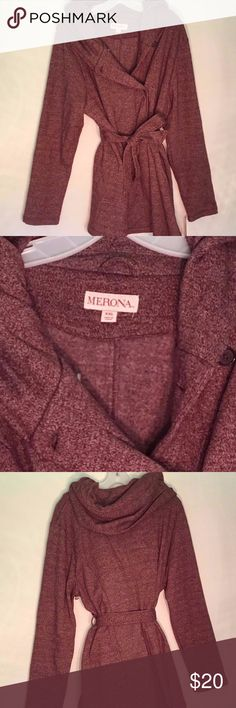 ATLANTIC BURGUNDY SWEATER JACKET WITH BELT WOMEN'S FASHION MERONA SIZE XXL ATLANTIC BURGUNDY SWEATER JACKET WITH BELT NWT Merona Jackets & Coats
