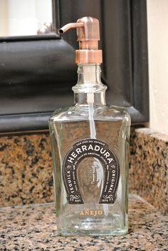 Herradura Glass Soap Dispenser / Tequila Pump Bottle / Horseshoe Design / Soap Dispensers For The Bathroom / Dish Soap / Hand Soap / Kitchen Tequila Bottles, Alcohol Bottles, Dish Soap Dispenser, Soap Dispensers, Dawn Dish Soap, Bottle Candles, Bottle Garden, Wine Bottle Labels, Jars