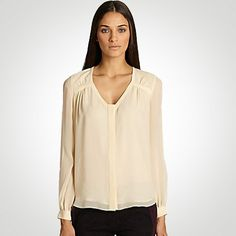 DVF Lane Silk Chiffon Blouse in Sesame  WAS $275 - NOW $137  Find DVF clothing in Beverly Hills at Jami Lyn on Robertson.