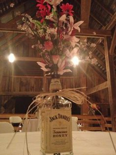 Jack Daniels wedding vase - the boy loves whiskey, so this could be nice to incorporate Rustic Wedding, Our Wedding, Dream Wedding, Jack Daniels Wedding, Wedding Centerpieces, Wedding Decorations, Mason Jar Crafts, Perfect Wedding, Just In Case