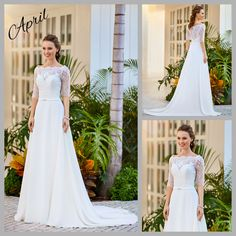 Understated elegance, with its pretty neckline, elbow-length sleeves, lace back, simple belt and beautifully draped chiffon skirt and train. Chiffon Skirt, Lace Back, Ball Gowns, Neckline, Elegant, Skirts, Sleeves, Beauty, Collection