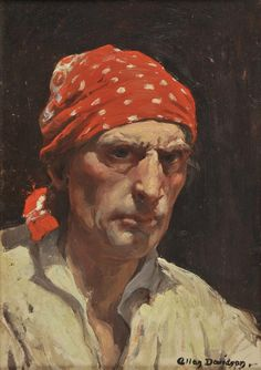 Davidson (Allan Douglas, 1873-1932). Self portrait, oil on wood panel, 35.5 x 25.5cm / 14 x 10in.