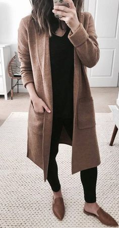Chic Fall Outfits To Stand Out From The Crowd women's brown coat How To Wear Loafers, How To Wear Leggings, Black Women Fashion, Look Fashion, Fall Fashion, Teen Fashion, Fall Winter Outfits, Autumn Winter Fashion, Simple Fall Outfits