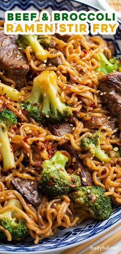 The popular Chinese restaurant Beef and Broccoli stir fry gets a delicious twist with ramen noodles, in this fantastic easy one pot 30 minute meal recipe! food recipes noodles ramen Beef and Broccoli Ramen Stir Fry Stir Fry Meat, Beef Noodle Stir Fry, Beef Broccoli Stir Fry, Chinese Beef And Broccoli, Easy Beef And Broccoli, Broccoli Recipes, Meat Recipes, Asian Recipes, Dinner Recipes