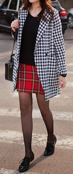 Preppy Pattern Mix ❤︎ Houndstooth & Plaid With cUte Oxfords