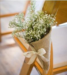 Burlap cone with baby's breath for the aisle